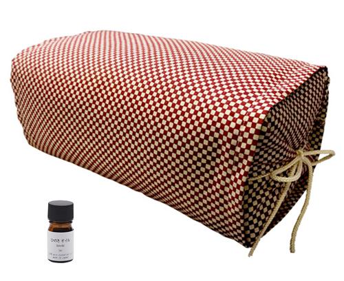 ひのき枕 ごろ寝タイプ 市松レッド