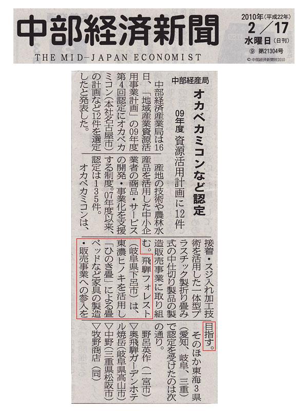 2010年 「中部経済新聞」 掲載記事