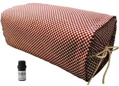 ひのき枕 ごろ寝 市松模様 レッド